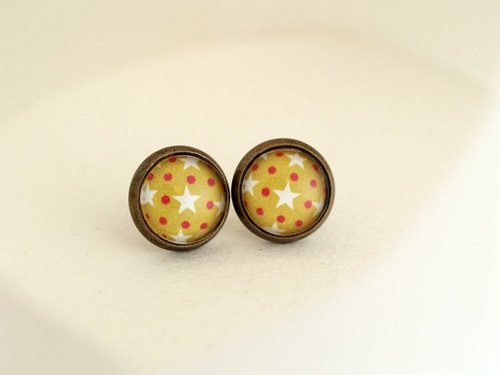 ♥ valentines ♥ ​​OldNew Lady- bronze small round earrings pop style section [green background red dot white stars]