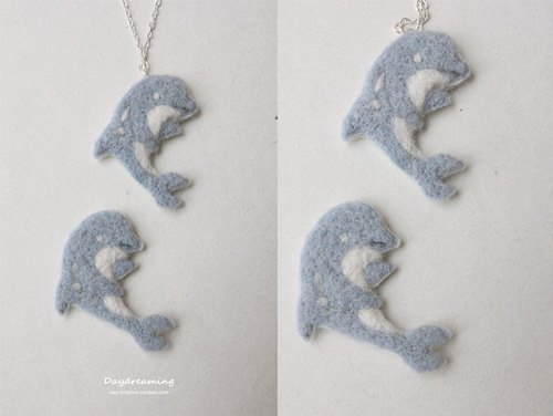 Blue Ocean dolphin wool felt necklace