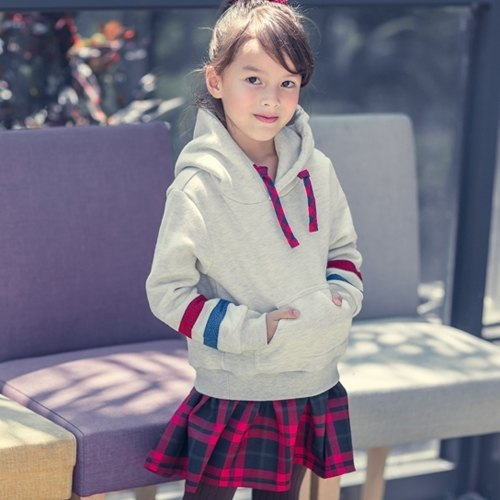[Parent-child models] minibite warm Academy hood TEE (even skirt paragraph)