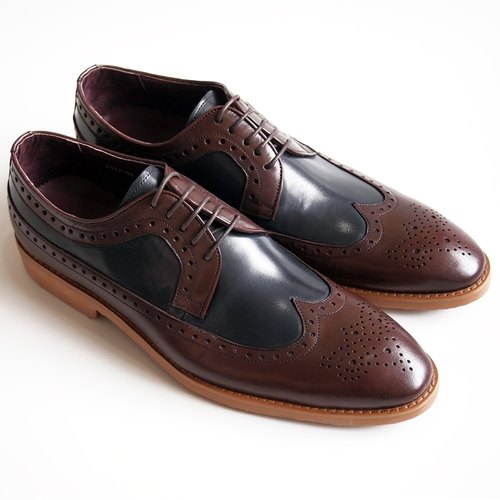 [LMdH] D1A15-79 calfskin hand-painted Long-wing wing color pattern carved Derby ‧ ‧ burgundy with blue Free Shipping