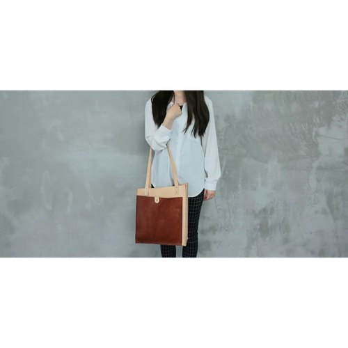 Hand-dyed hand-tanned leather dorsal shoulder bag - tea + primaries