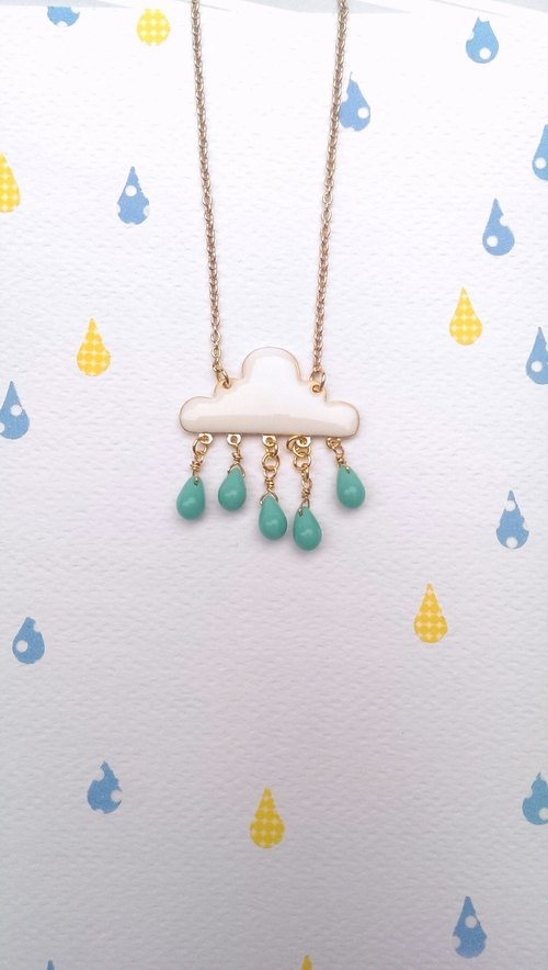 Rain Hello! Clouds children raindrops necklace (green lake raindrop)