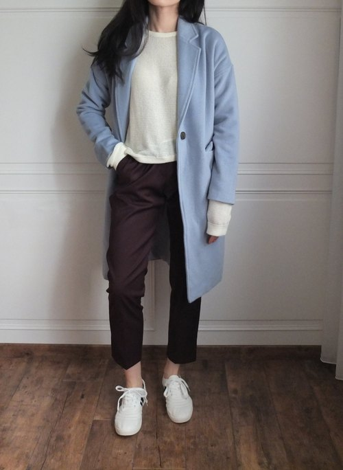 Ice Blue fitted wool coat (double Kashenmier wool / there are other color options)