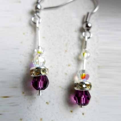 Mysterious purple earrings (Swarovski Crystal & amp; Silver)
