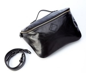 Full black leather Italian French Rokit small shoulder bag / purse / messenger bag