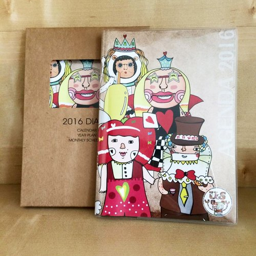 2016 PDA log [] red hair Happy Everyday Family Alice in Wonderland theme covers New Year gift