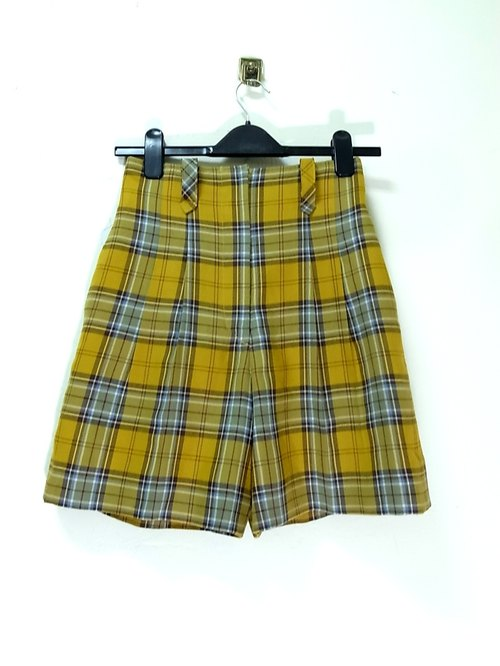 Mustard Yellow Coffee Plaid skirt waist shorts vintage PdB