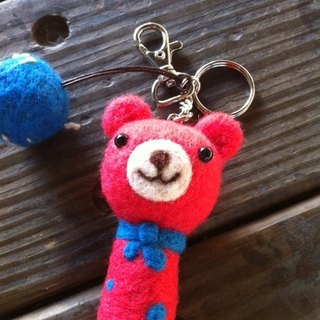 Cubs Peach wool felt key ring