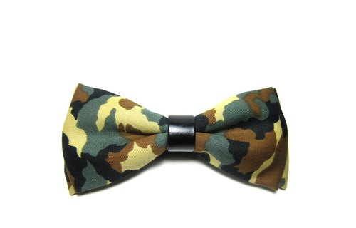 ▲ three-color camouflage tie - Green Hand-made Bow Tie
