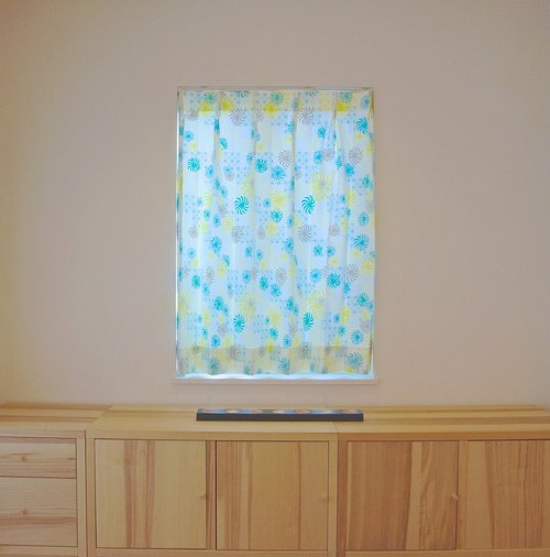 """MoRi MoRi"" Custom made curtains [ ""Kazaguruma"": Yellow & Green ] W 96cm-190cm / L 121cm-210cm (inc. lining)"