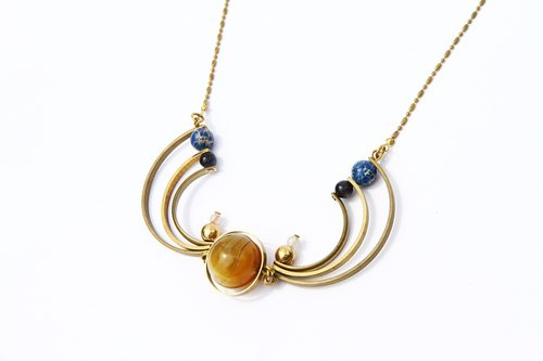 Yellow agate necklace full moon Planet