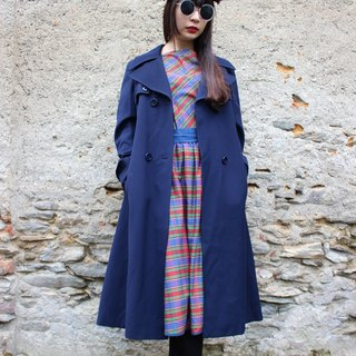 Within F972 (Vintage) dark blue waist straps attached double pocket thick texture fine in Long Jacket
