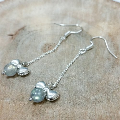 silver-plated earling with labradorite