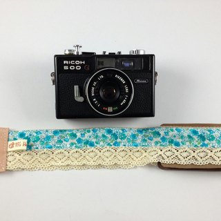 Hand-made monocular Class SLR camera strap decompression Camera back rope --- green small floral lace retro models