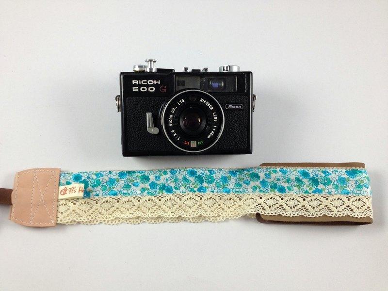 手作單眼.類單眼減壓相機背帶.相機背繩---蕾絲復古翠綠小碎花款