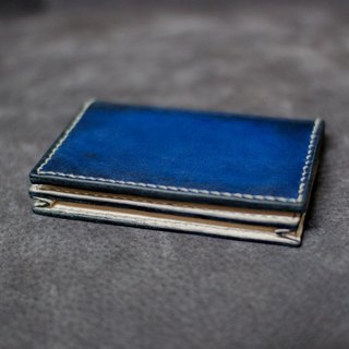 Leather handmade leather pocket short clip (blue-black gradient)