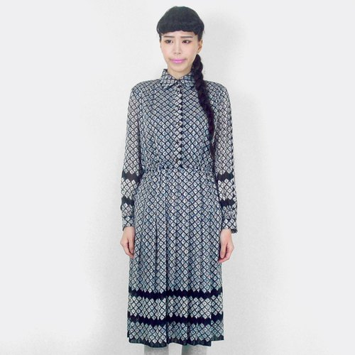 Black and white vintage gray grid long-sleeved chiffon flower dress AF8016