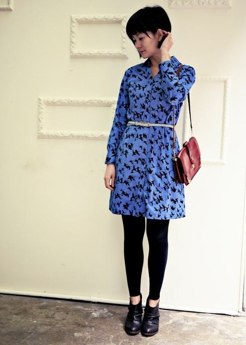 Georgia Tsao // blue Yan Zi shirt-style dress