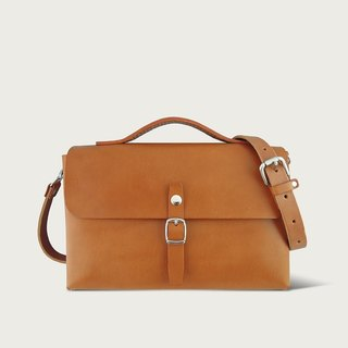 Single Button Small Bag / Side Backpack -- Camel Yellow