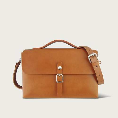 "LINTZAN ""hand-stitched leather"" single buckle satchel / shoulder bag - camel yellow"