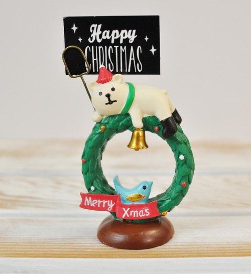 [Japan Decole] Christmas limited edition Christmas greetings card holder (Christmas white bear with Christmas wreaths)