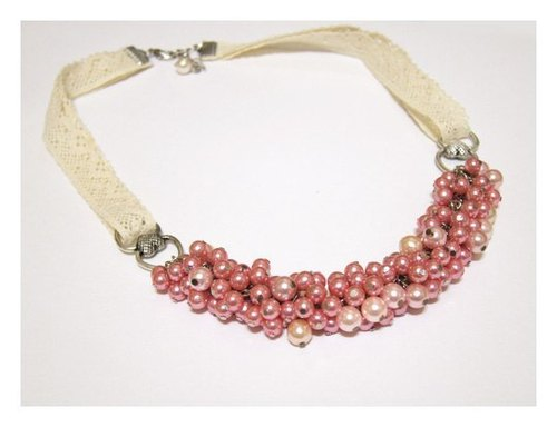 Pink lace colorful beads chain