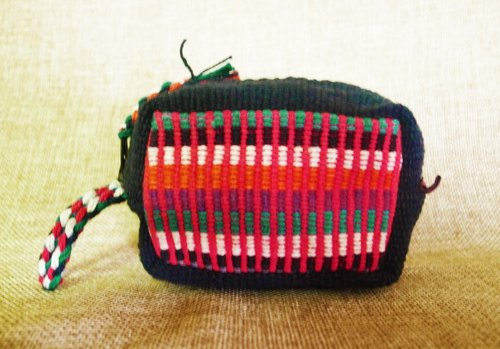 [Music tempo] <Taiwan exclusive hand-woven> Nepal rainbow hand workshop and wallet (black and blue + red)