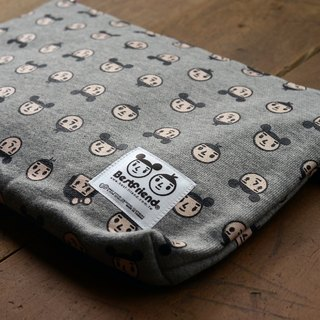 [BestFriend] cotton zipper pouch (L) - (full version gray)