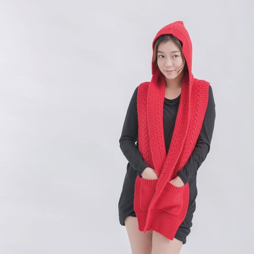 Goody hooded knit scarf / red