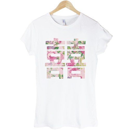 Chinese Joy-Flower Girl T-shirt - White Happiness wedding wedding flower floral green paper art design fashion fashionable word