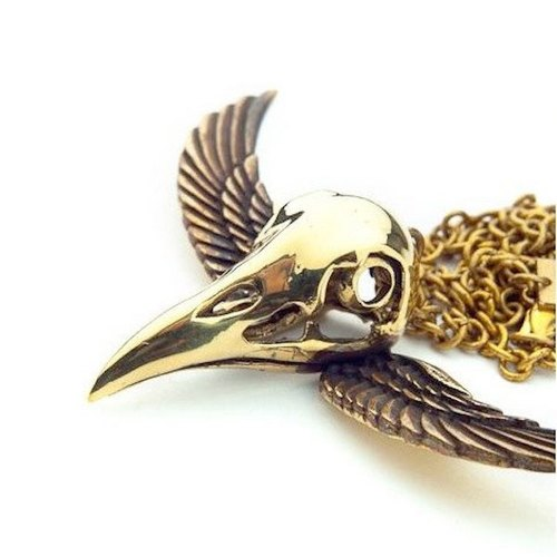 Crow skull pendant in brass and oxidized antique color ,Rocker jewelry ,Skull jewelry,Biker jewelry