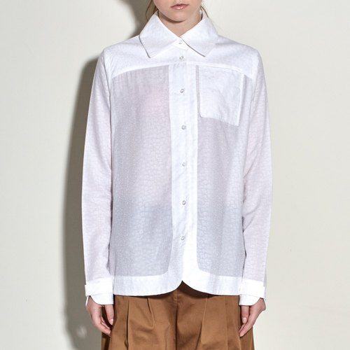 White day silk cotton long-sleeved shirt