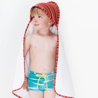 [Nordic children's wear] Swedish turquoise / white swimming trunks