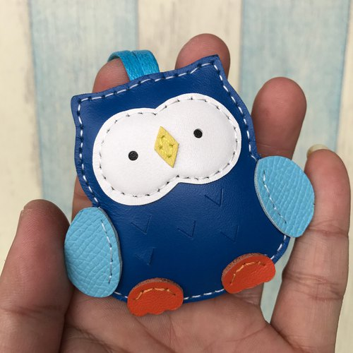 Leatherprince Handmade Leather Taiwan MIT Dark Blue Cute Owl Hand-sewn Leather Charm Small size small size