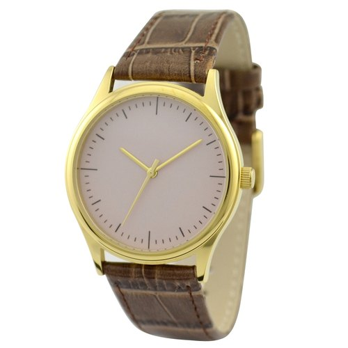 Simple Watch beige surface gold shell