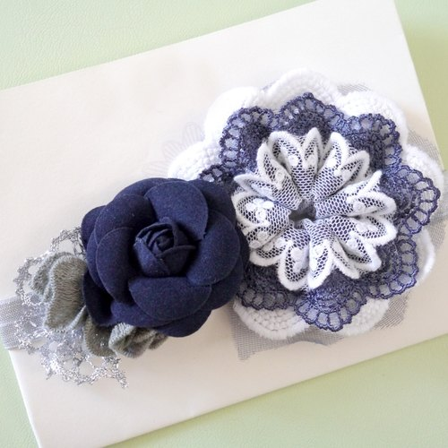 Blue purple lace fight camellia child handmade hair band [Limited]