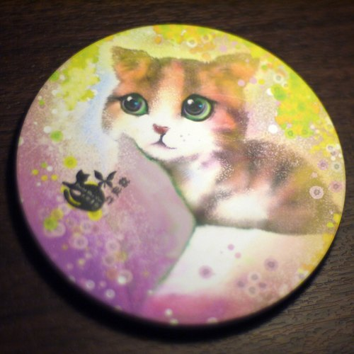 David painted designer cat _ _ gold limited edition ceramic coasters rain Cassia fistula