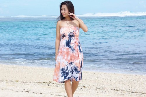 Tropical color! 2015 New uneven dyed Strapless dress <Salmon navy>