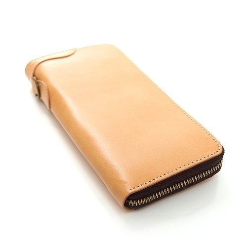 Rever Leather imported vegetable tanned leather wallet long clip accompanied by Finance Minister length YKK zipper purse eight card slots brown colors hand rub