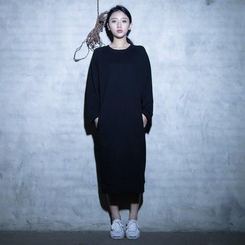 SUMI University University Classic long black casual dress _4AF406_