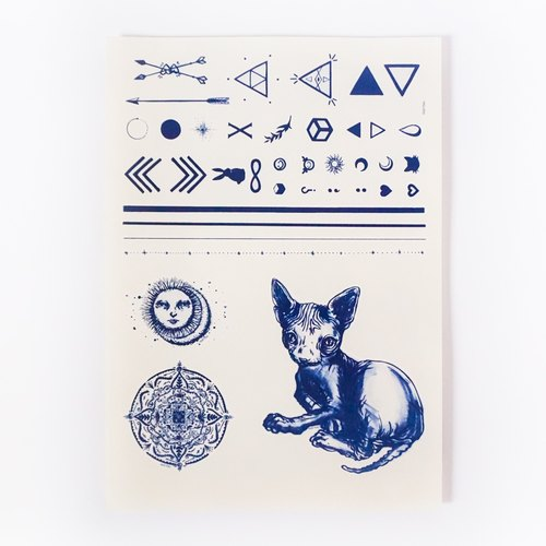 LAZY DUO Temporary Tattoo Stickers { SET 12 } Sun Moon Cat Mandala Triangle Linework