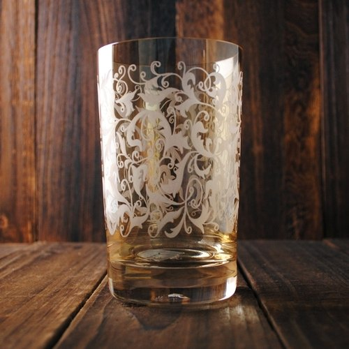 300cc [MSA GLASS ENGRAVING] German lead-free crystal glass carved amber Eisch Toulouse