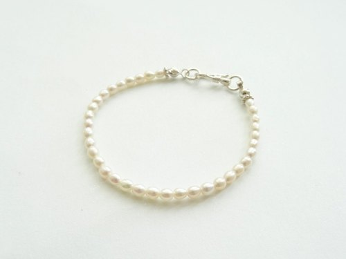 Ivory White Freshwater Pearl Sterling Silver Bracelet w/ S Hook ◆ Rice-Shaped