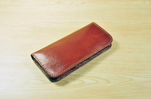 MICO hand sewn simple long wallet / long clip / wallet / cloth cloth (brown)