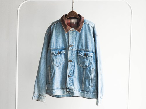 River Hill - leather collar blue lake stranded in pounds tannins denim jacket vintage antique neutral oversize