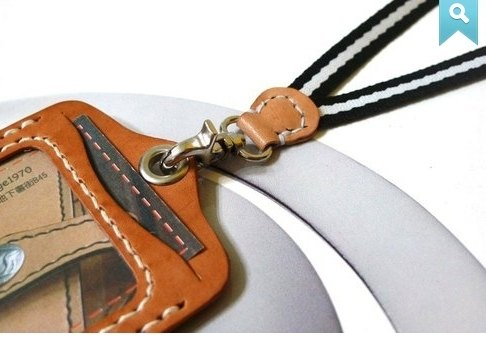 Straight single simple identification card hanging rope to hang _ + taste vegetable tanned leather colors