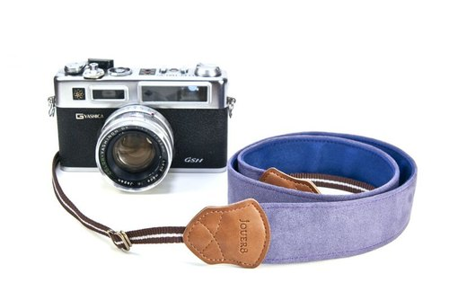 UV color camera strap - Wide pure purple (suede surface)