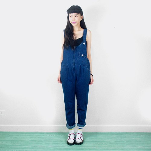 Front zip vintage denim suspenders trousers AE9013