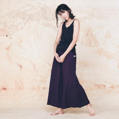 Handmade cotton wide pants - purple