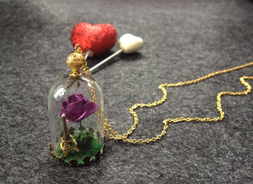 Eiffel Tower / Rose / 24K gold / allergy / color retention / glass ball necklace